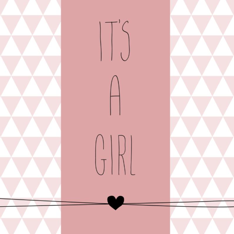 Felicitatiekaarten - Driehoekjes met tekst, roze