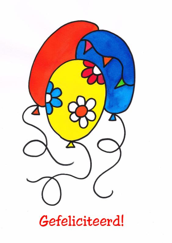 Felicitatiekaarten - Droomvallei verjaardag ballonnen