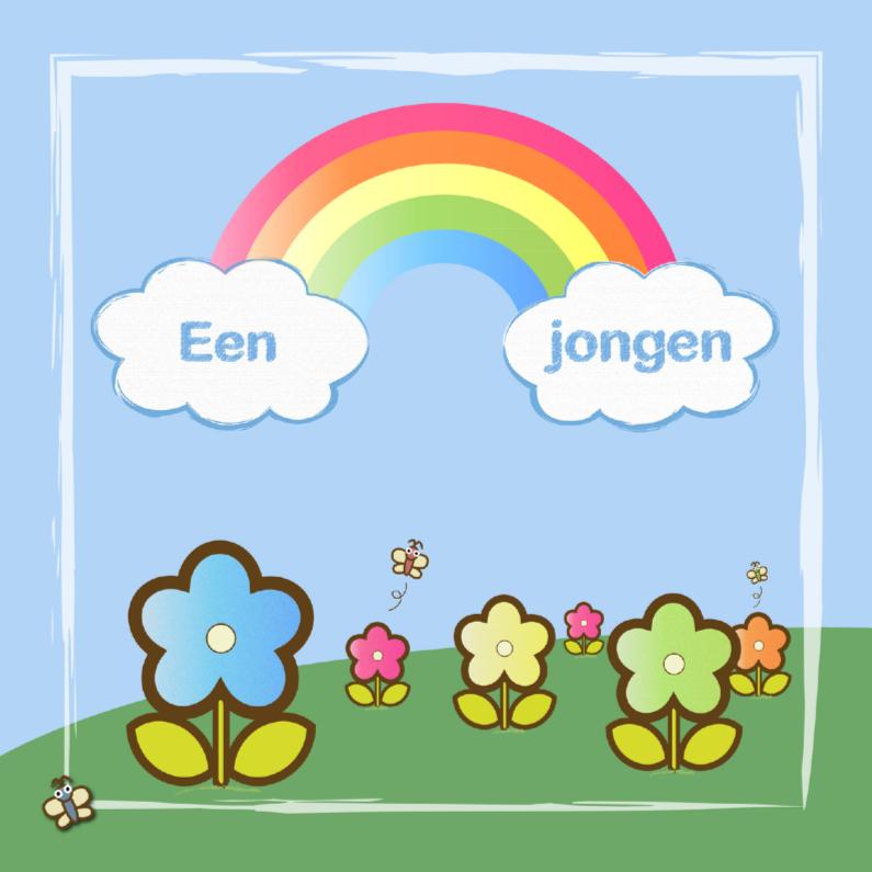 Felicitatiekaarten - een jongen met regenboog en bloemen