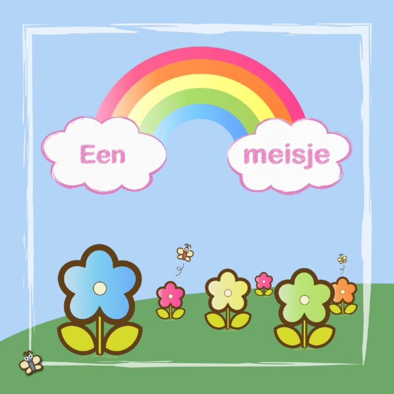 Felicitatiekaarten - een meisje met regenboog en bloemen