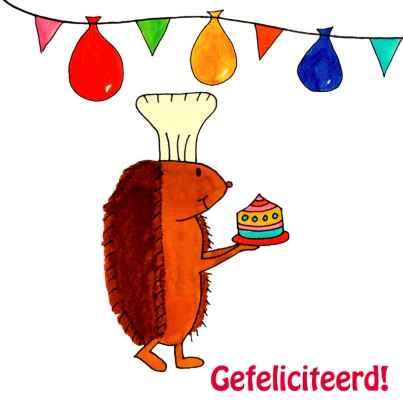 Felicitatiekaarten - Egel brengt taart