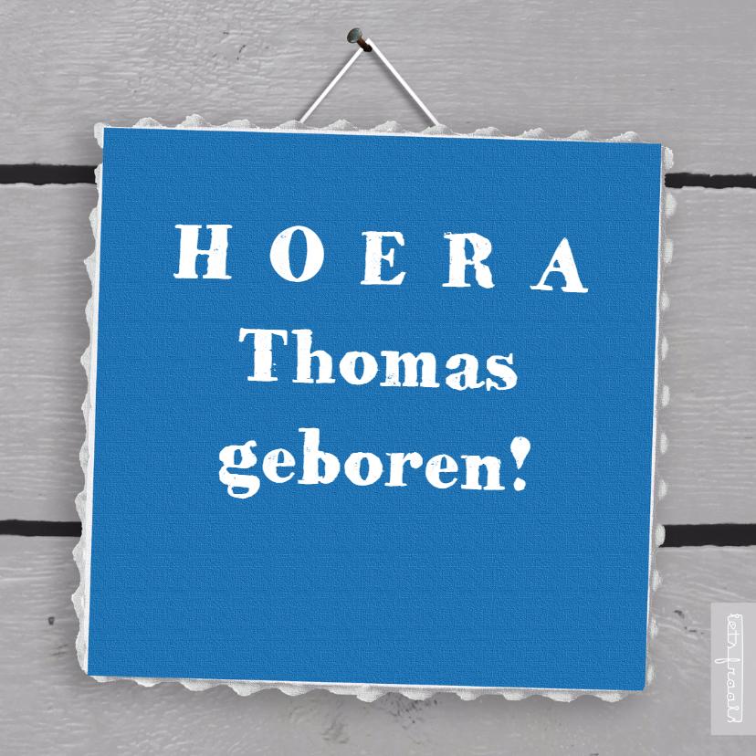 Felicitatiekaarten - Eigen tekst op blauw doekje op hout