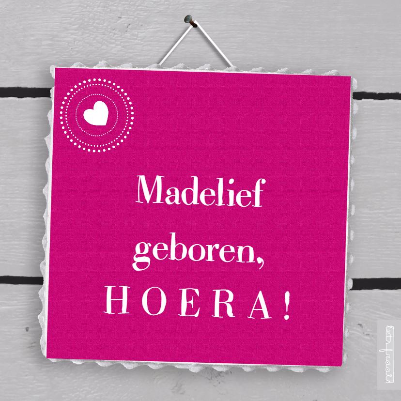 Felicitatiekaarten - Eigen txt roze canvas houtprint