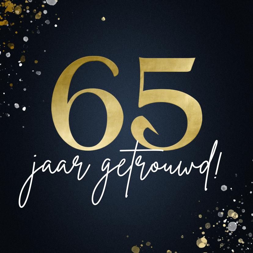 Felicitatiekaarten - Felicitaite huwelijksjubileum 65 stijlvol blauw met spetters