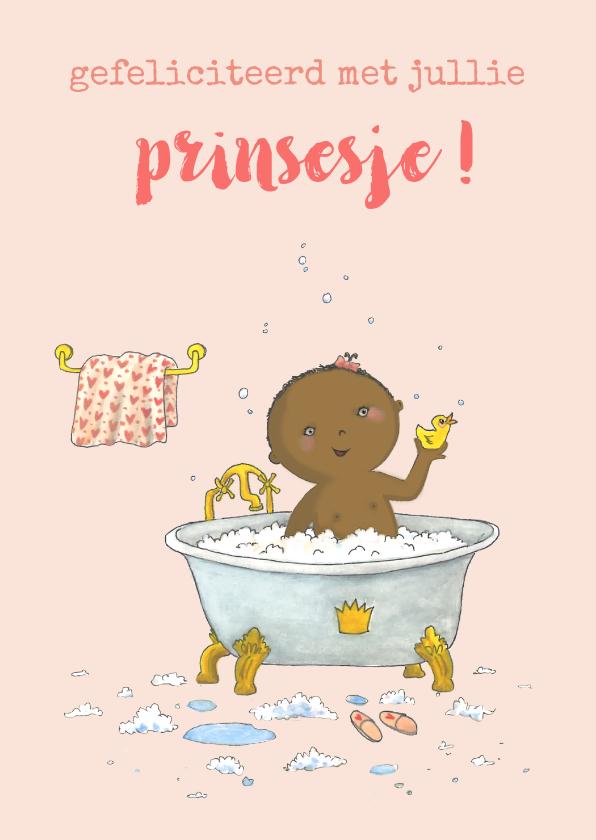 Felicitatiekaarten - Felicitatie baby schuimbadje meisje