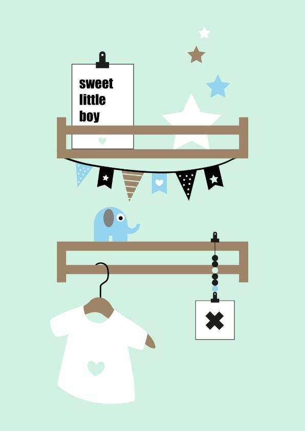 Felicitatiekaarten - Felicitatie - Babykamer plankjes mint