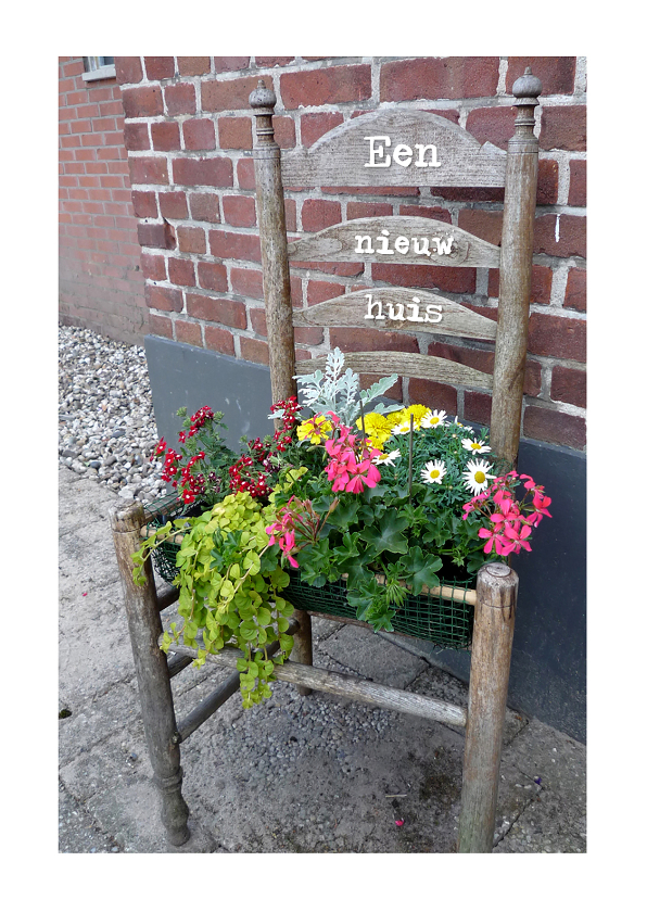 Felicitatiekaarten - Felicitatie bloemetjes stoel