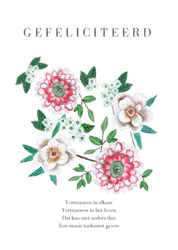Felicitatiekaarten - Felicitatie botanisch bloemen voor het aanstaande paar