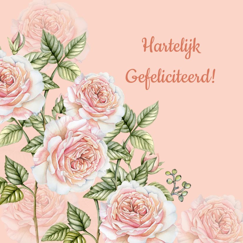 Felicitatiekaarten - Felicitatie botanische rozen