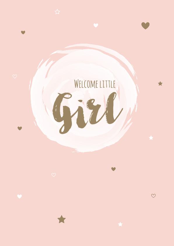 Felicitatiekaarten - Felicitatie - Cirkel, watercolour girl