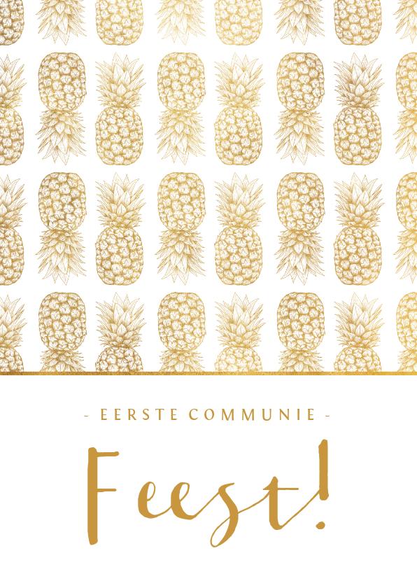 Felicitatiekaarten - Felicitatie communie ananas patroon goudlook