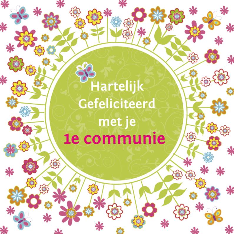 Felicitatiekaarten - felicitatie communie bloemen