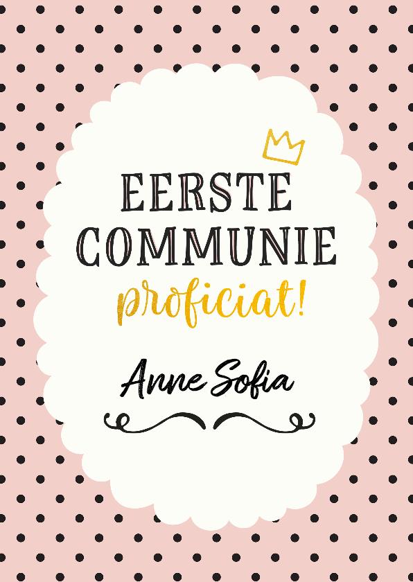 Felicitatiekaarten - Felicitatie - communie meisje stippen