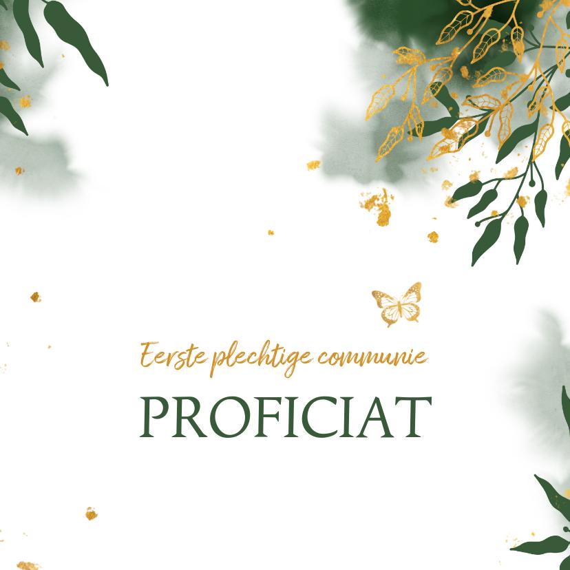 Felicitatiekaarten - felicitatie communie met groene waterverf en gouden bladeren