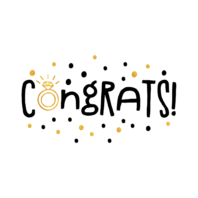 Felicitatiekaarten - Felicitatie congrats gouden ring en confetti