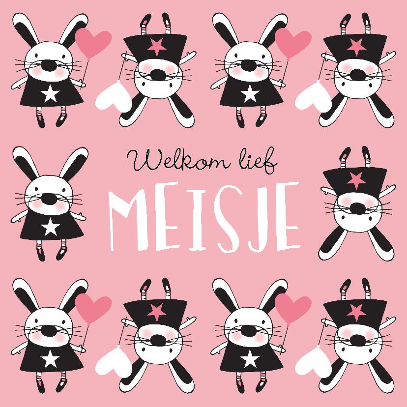 Felicitatiekaarten - Felicitatie dochter handgetekend konijn roze  - MW