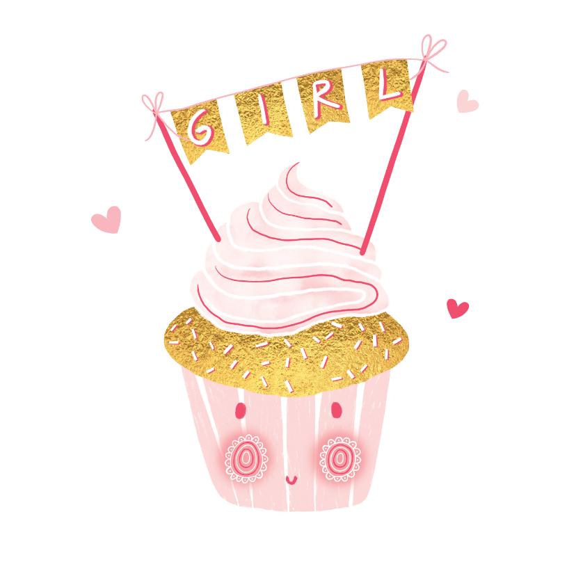 Felicitatiekaarten - Felicitatie dochter happy cupcake roze
