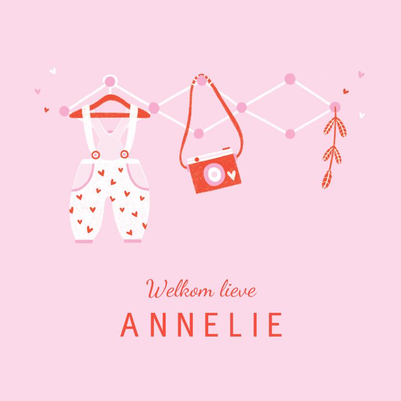 Felicitatiekaarten - Felicitatie dochter kleertjes roze/rood