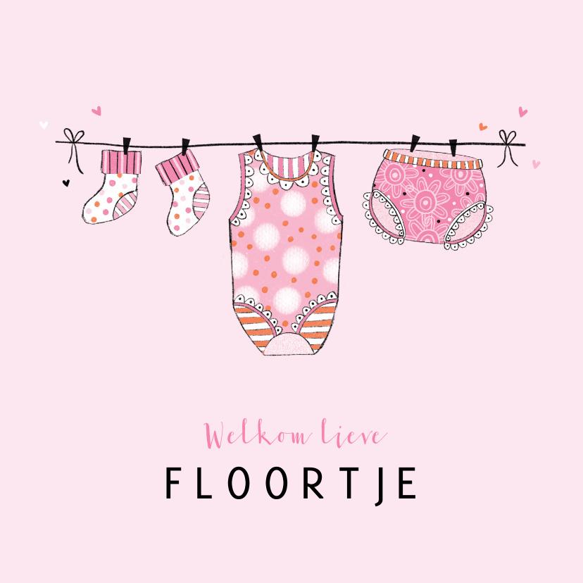 Felicitatiekaarten - Felicitatie dochter waslijn roze