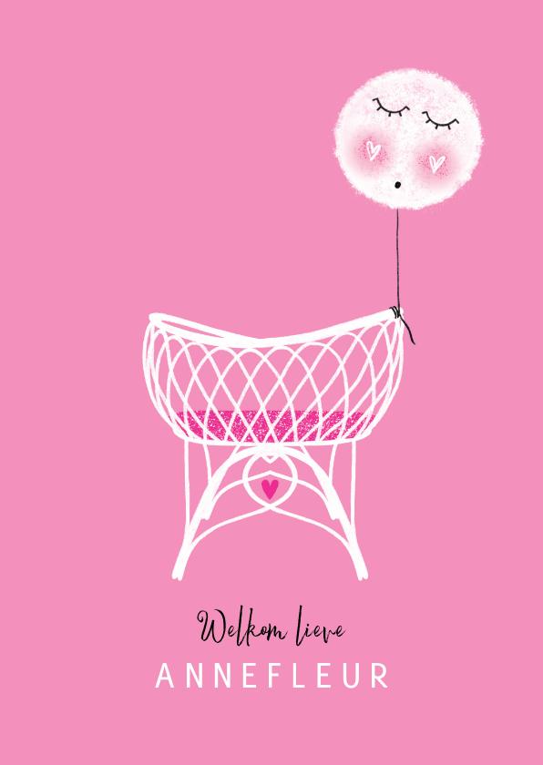 Felicitatiekaarten - Felicitatie dochter wiegje ballon roze