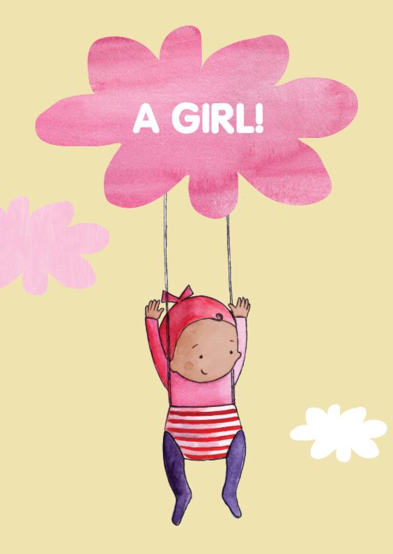 Felicitatiekaarten - felicitatie donker baby meisje