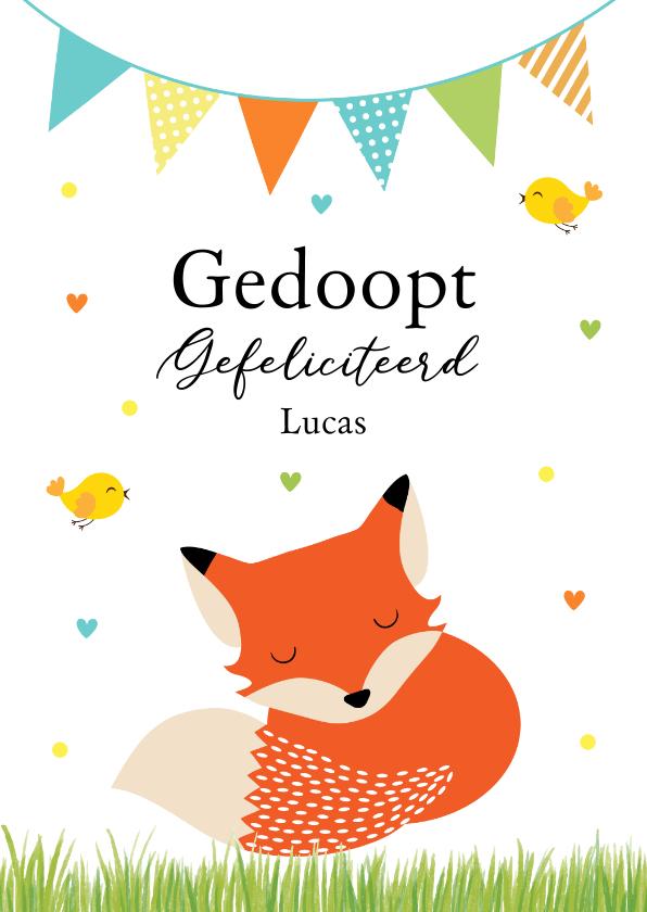 Felicitatiekaarten - Felicitatie doopsel jongen vosje slinger