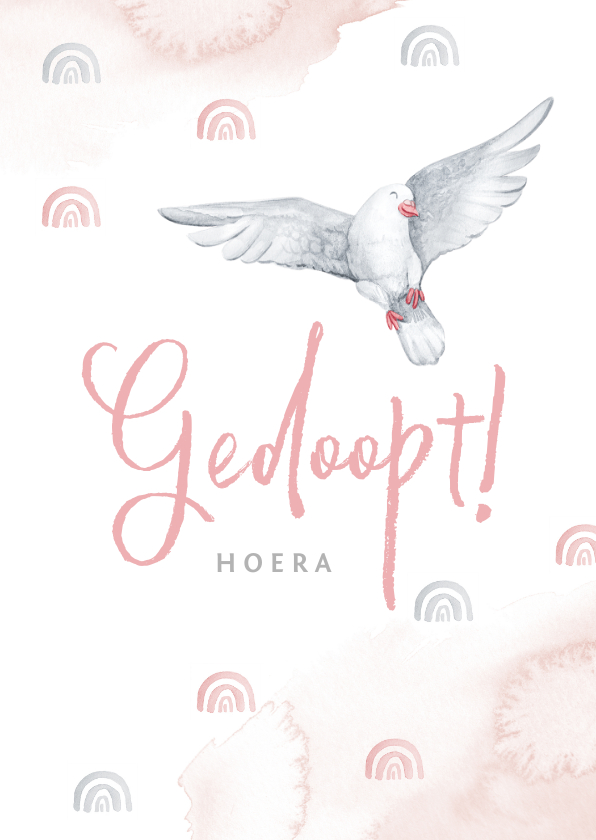 Felicitatiekaarten - Felicitatie doopsel meisje witte duif regenboogjes roze