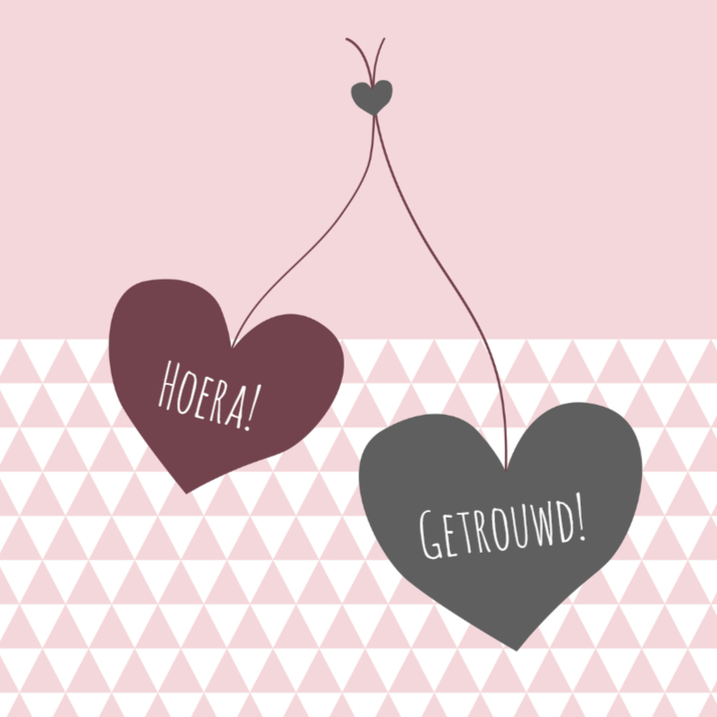 Felicitatiekaarten - Felicitatie driehoek harten