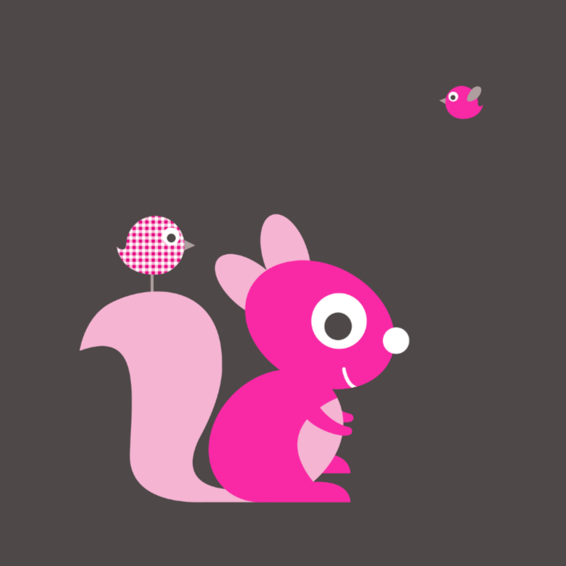 Felicitatiekaarten - Felicitatie eekhoorn roze