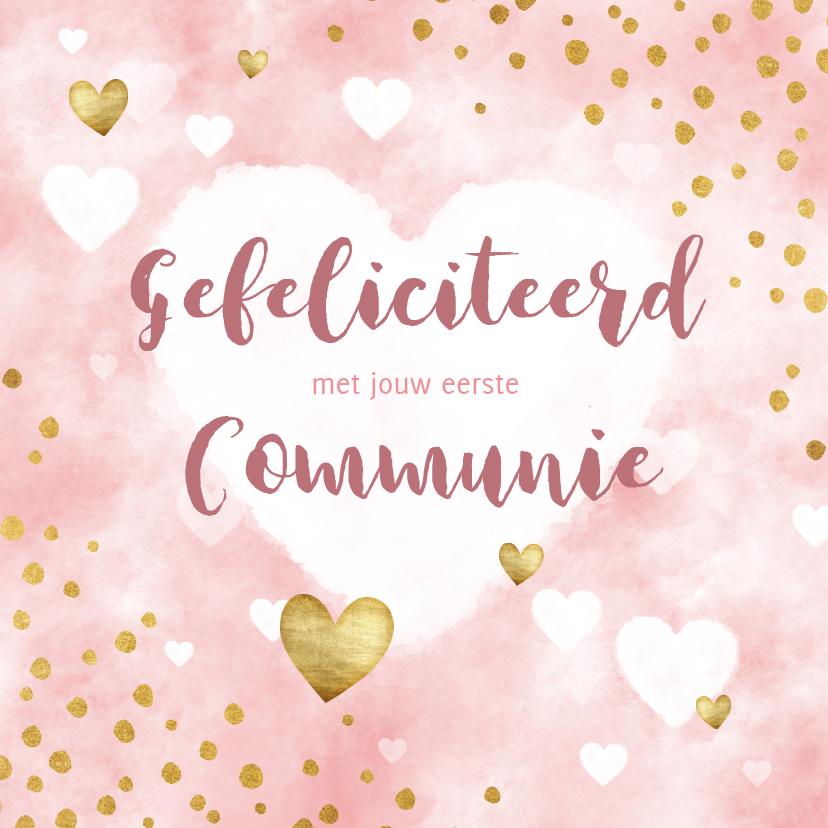 Felicitatiekaarten - felicitatie eerste communie waterverf, hartjes en stipjes
