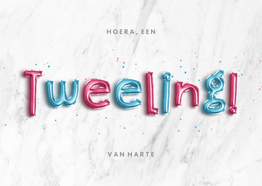 Felicitatiekaarten - Felicitatie folieballon blauw/roze 'Hoera, een tweeling!'