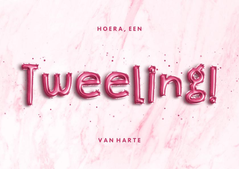 Felicitatiekaarten - Felicitatie folieballon roze 'Hoera, een tweeling!'