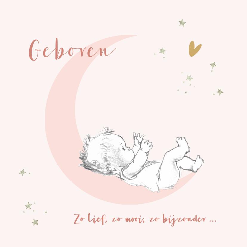 Felicitatiekaarten - Felicitatie geboorte baby op roze maan met sterren