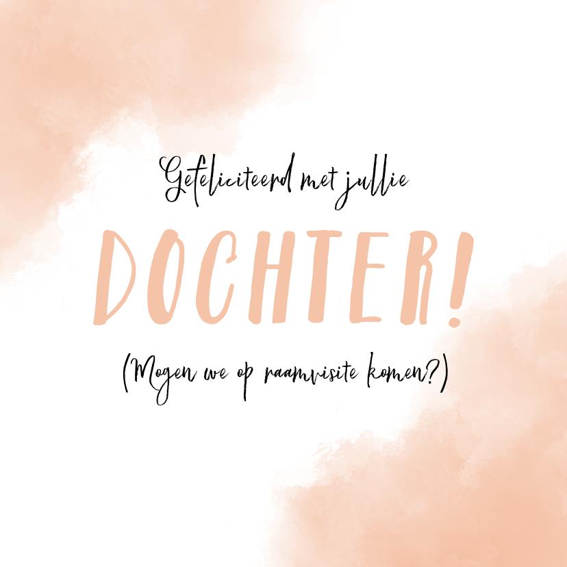 Felicitatiekaarten - Felicitatie geboorte dochter met zalm-roze achtergrond