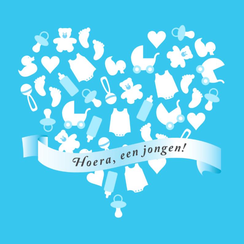 Felicitatiekaarten - Felicitatie geboorte hart blauw