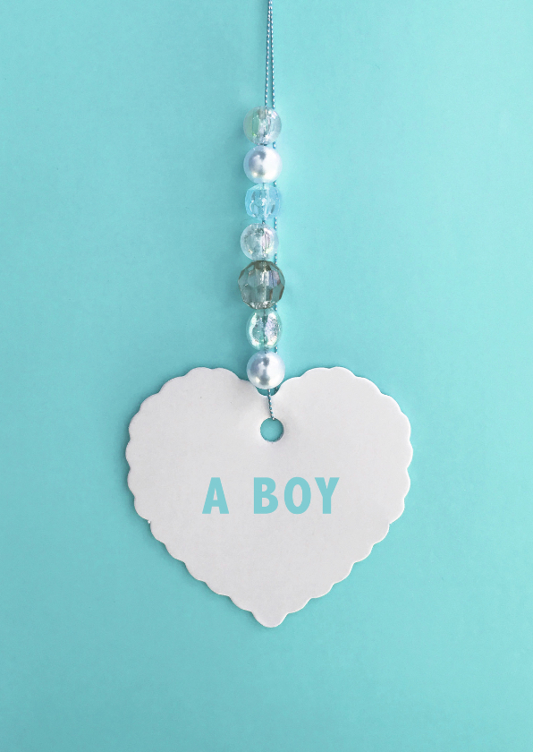 Felicitatiekaarten - felicitatie geboorte hart jongen