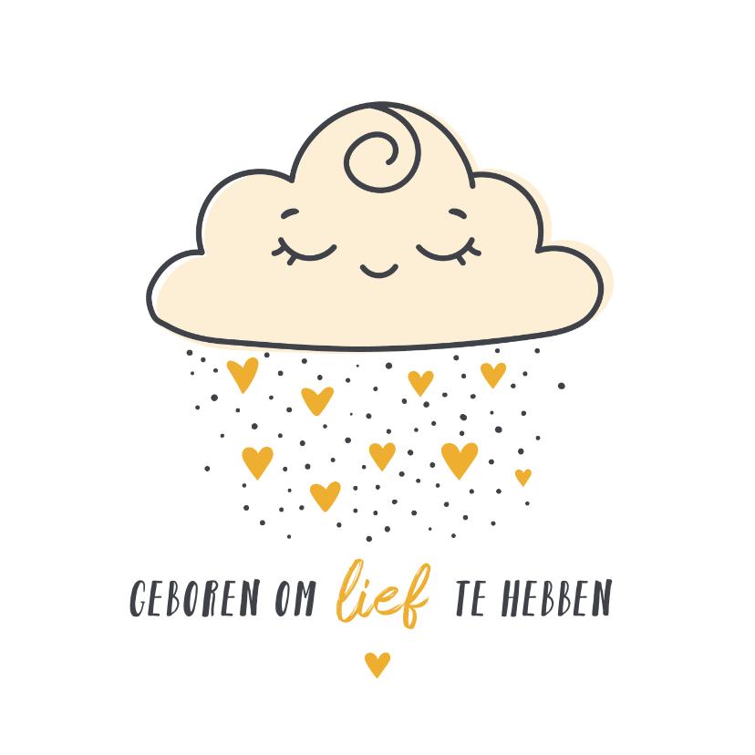 Felicitatiekaarten - Felicitatie geboorte het regent hartjes uit een lieve wolk