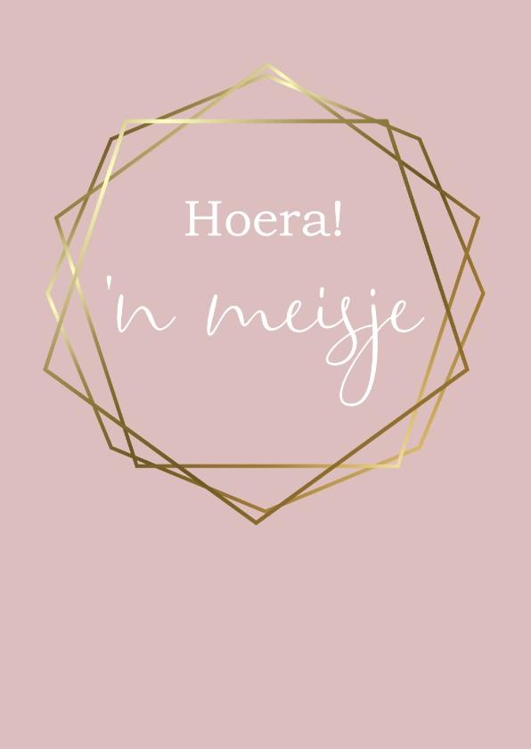 Felicitatiekaarten - Felicitatie geboorte hexagon, aanpasbare kleur