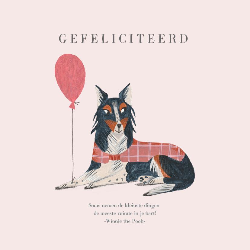 Felicitatiekaarten - Felicitatie geboorte hond met ballon