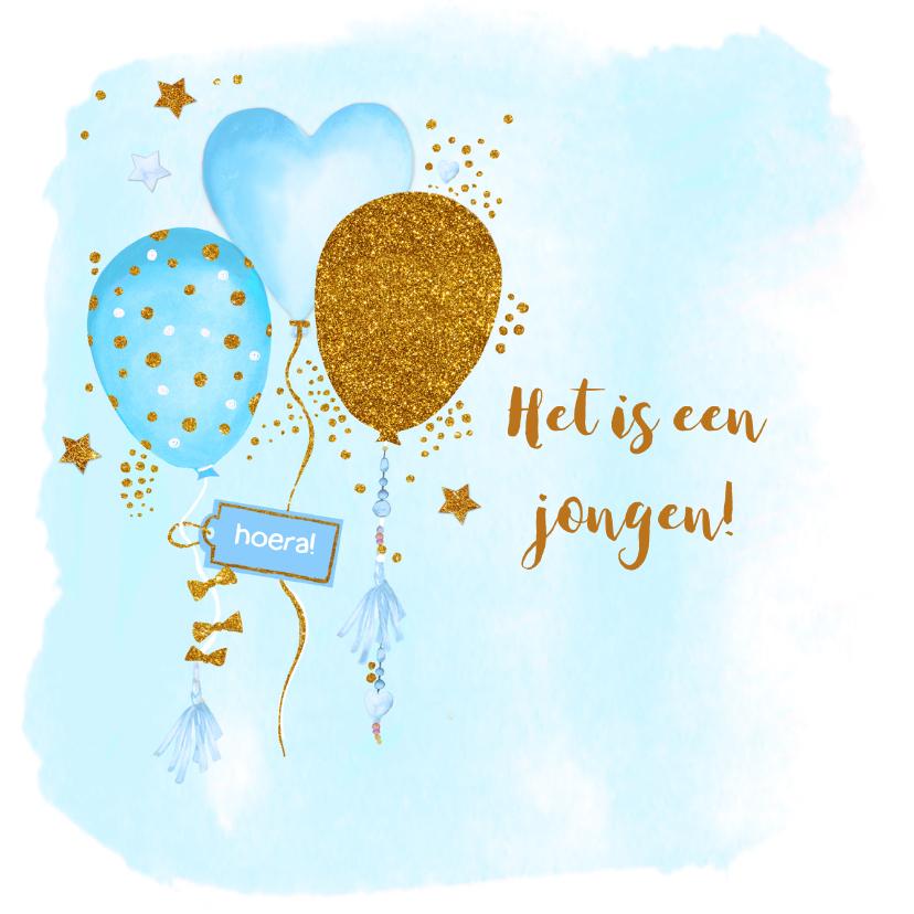 Felicitatiekaarten - Felicitatie geboorte jongen ballonnen