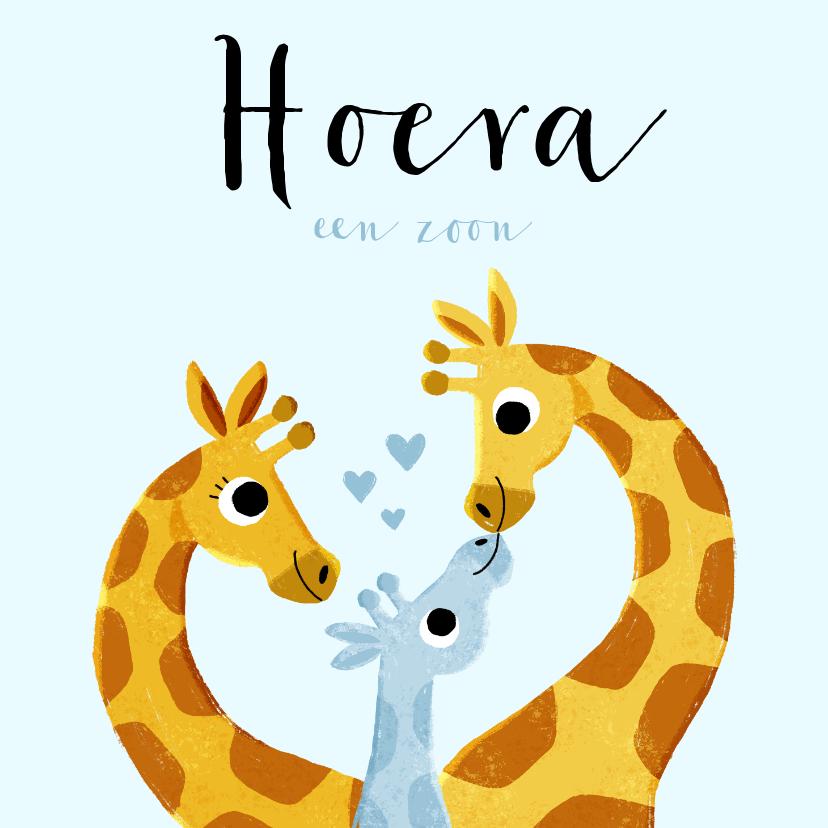 Felicitatiekaarten - felicitatie geboorte jongen met 3 giraffes en hartjes