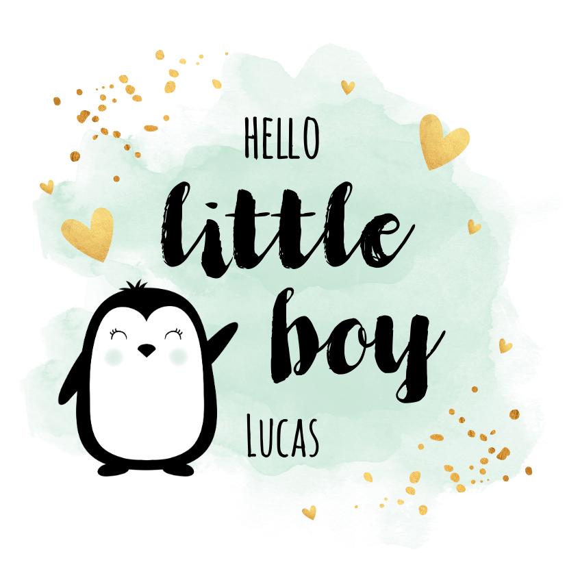 Felicitatiekaarten - Felicitatie geboorte jongen pinguïn waterverf groen