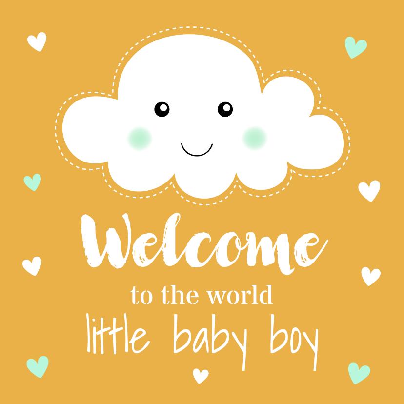 Felicitatiekaarten - Felicitatie geboorte jongen wolkje okergeel