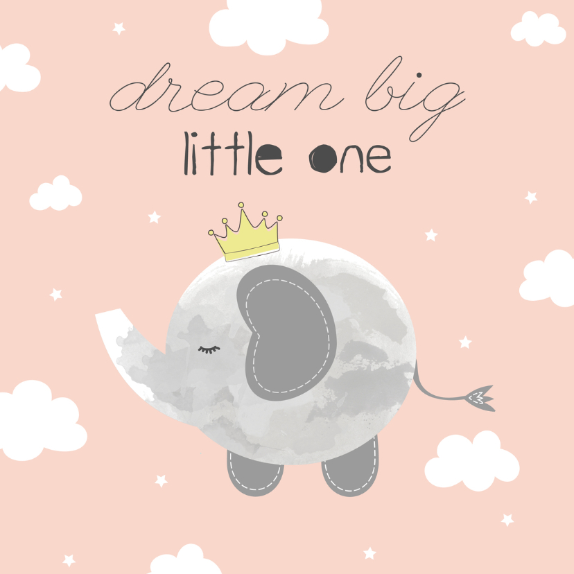 Felicitatiekaarten - Felicitatie geboorte Meisje - Dream Big Little One