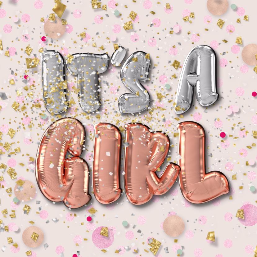 Felicitatiekaarten - Felicitatie geboorte meisje - folie ballon