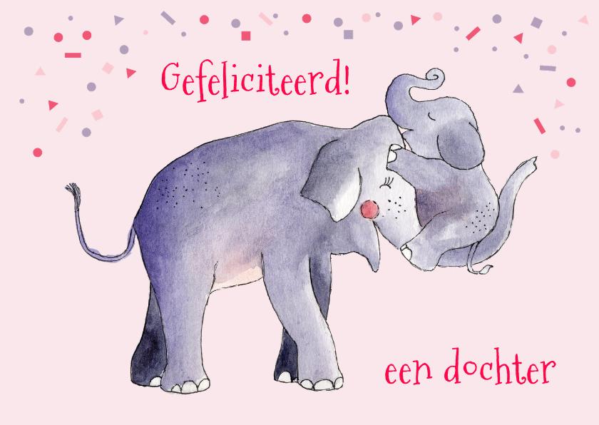 Felicitatiekaarten - Felicitatie geboorte meisje illustratie olifant en jong