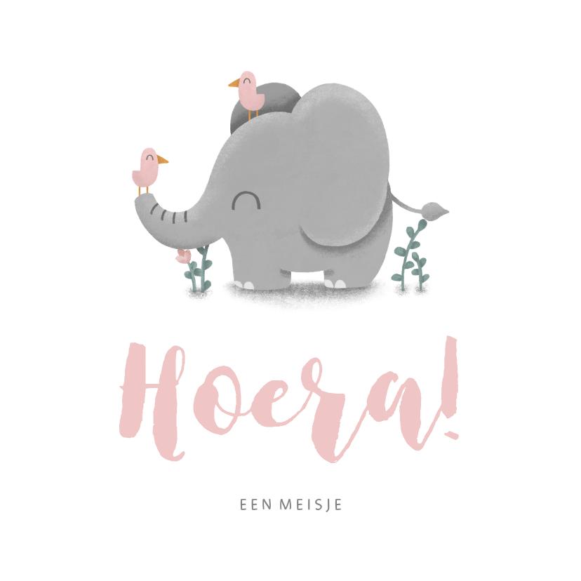 Felicitatiekaarten - Felicitatie geboorte meisje met lieve olifant en vogeltjes