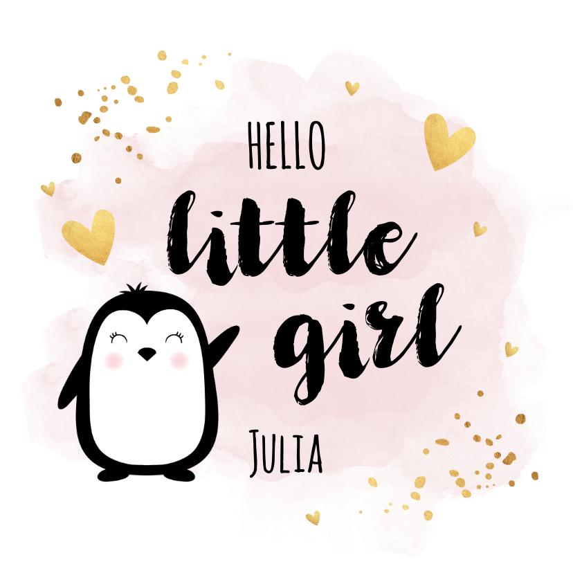 Felicitatiekaarten - Felicitatie geboorte meisje pinguïn waterverf roze goudlook