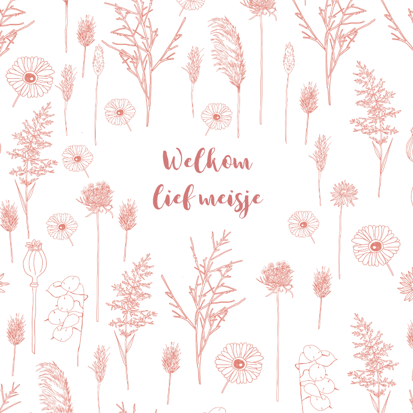 Felicitatiekaarten - Felicitatie geboorte meisje roze bloemen