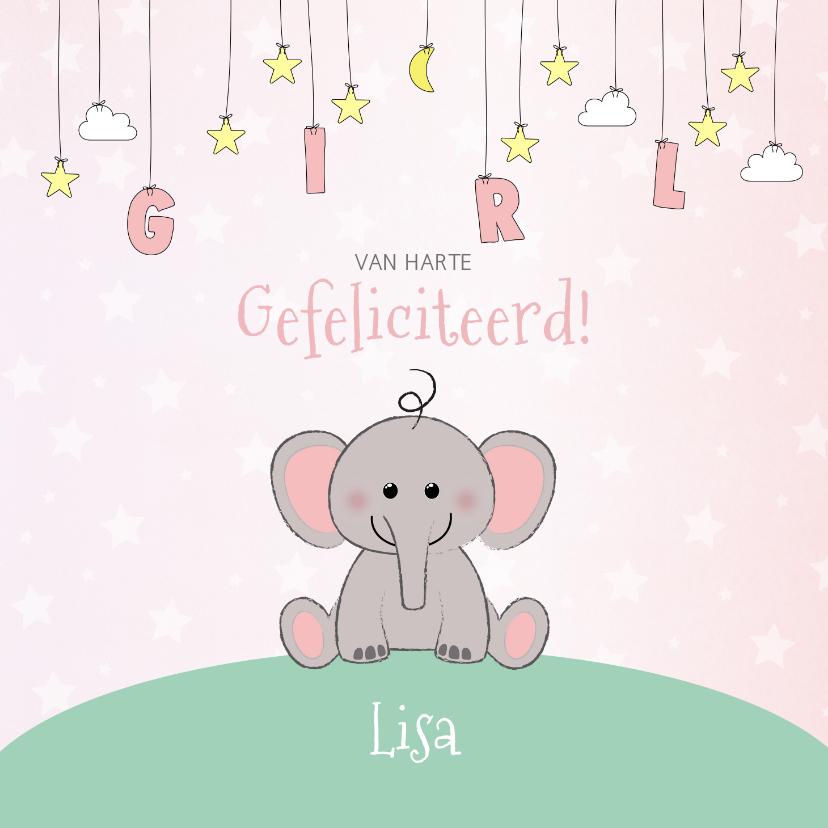 Felicitatiekaarten - Felicitatie geboorte meisje  schattig olifantje en sterren